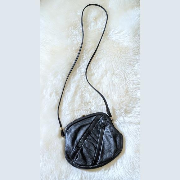 80's Vintage Black Geometric Leather Crossbody